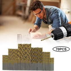70 peças conjunto de brocas de aço de alta velocidade titanium twist brocas kit para plástico liga alumínio metal macio #25