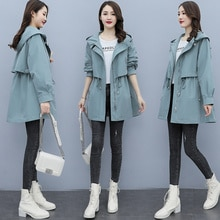 Trench Coat for Women 2021autumn Korean Style Popular Autumn Small Baggy Coat Casual Large Size Wome