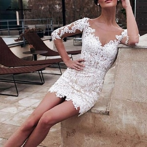Lakshmigown Short Wedding Dress 2020 Robe de Mariee Vintage Lace Bridal Gown Chic Beach Wedding Dresses with 3/4 Sleeves