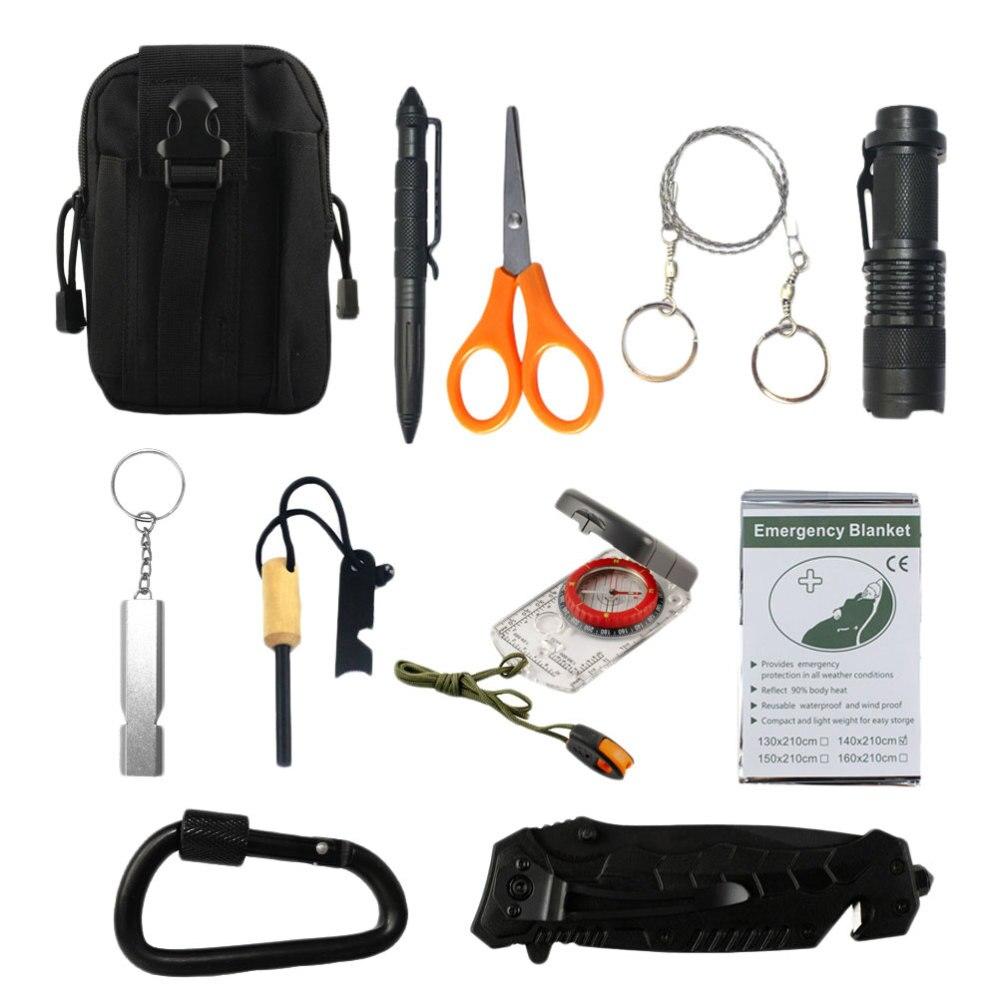 1 conjunto de kit de sobrevivência de emergência do carro multifuncional punho ferramentas de ajuda sobrevivência cintura saco preto