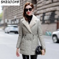 shzq sheep leather jacket womens down jacket slim fit jacket medium long sheep leather suit collar 2021 winter new