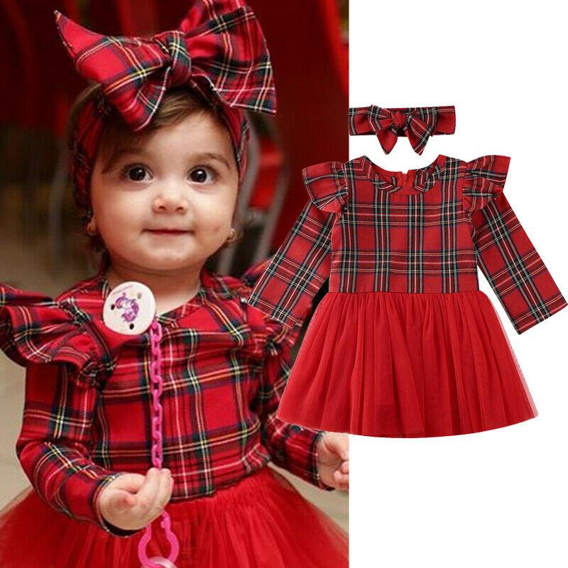 Vestido de natal do bebê meninas da criança vermelho xadrez roupas de manga longa tule tutu vestido + bandana roupas de natal vestido