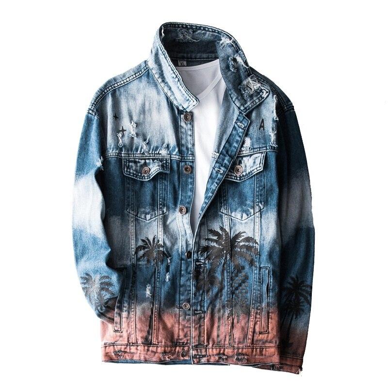 Chaqueta estilo aviador Vintage vaquera con agujeros rasgados para hombre, playa, cocotero, Hip Hop, Jeans, chaqueta, abrigos desgastados, GA403
