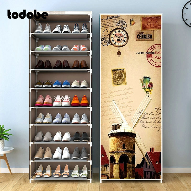 Simple Multilayer Shoe Rack Nonwoven Storage Closet Home Dorm Entryway Space-saving Shoe Stand Holder Shoe Cabinet with Zipper