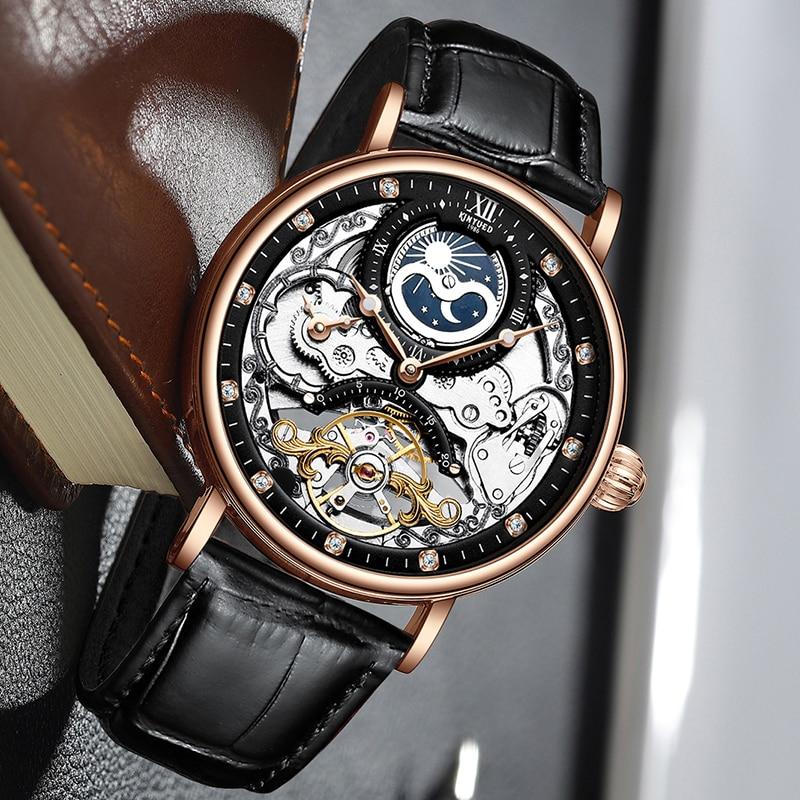 KINYUED-ساعة يد أوتوماتيكية للرجال ، أوتوماتيكية ، عسكرية ، ميكانيكية ، Torbillion ، ذهبية ، ماركة فاخرة ، rolojes hombre 2020