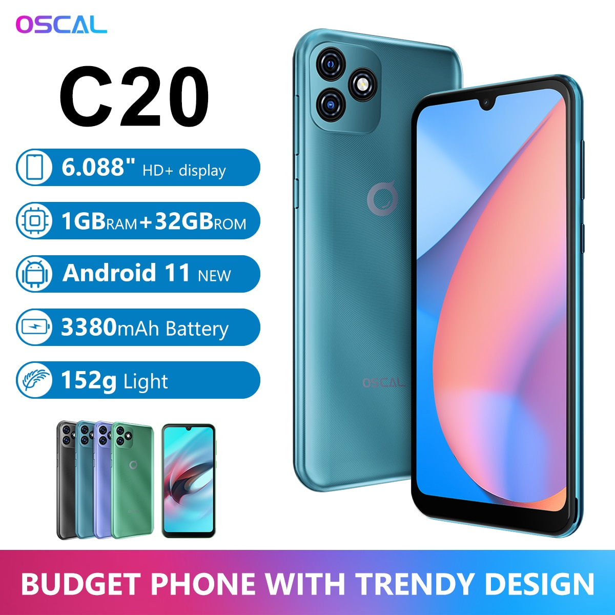 BLACKVIEW OSCAL C20 Android 11 3G Smartphone 1GB+32GB 6.088