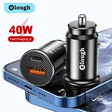 Elough Dual USB Car Charger Quick Charge 3.0 QC3.0 Fast Charging PD 40W Type C Car Charger For iPhon