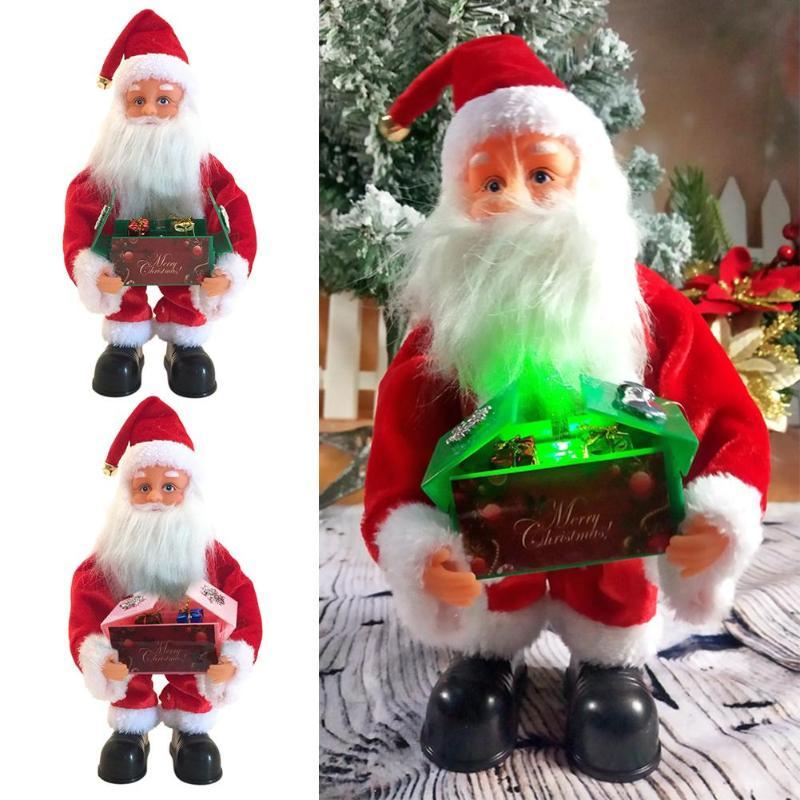Cajas de música de Navidad Venta caliente simple adorno ligero muñeco de Santa Claus simulado decoración de regalo de Navidad con música