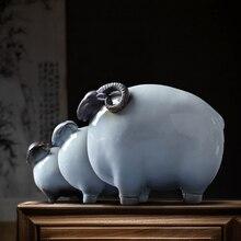 Ceramic Sheep Figurine Zodiac Statue Feng Shui Decor Sanyang Kaitai Three Lucky Sheep Porcelain Home Office Tea Tray Prosperous