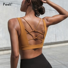 Peeli Shockproof Sports Bra Top Fitness Women Gym Brassiere Back Cross Sport Bh Push Up Yoga Bra Padded Athletic Top Active Wear