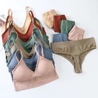 no steel wire sports bra set women bra panties set sexy seamless padded bras and women soft panties comfort underwear set