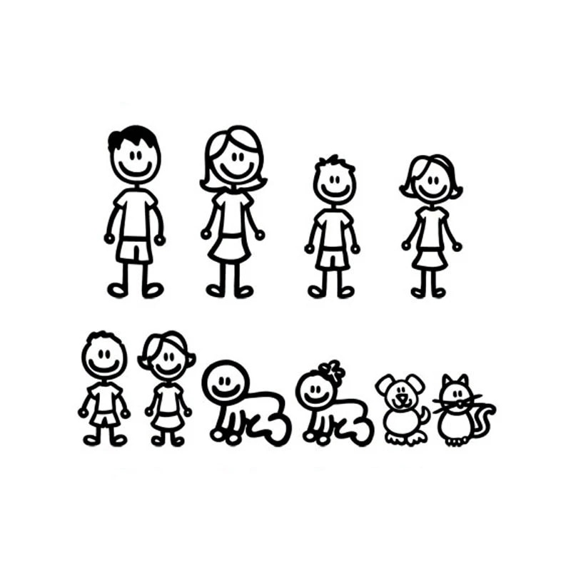 Personalized Interesting Family Covering The Body of Fashion Styling Decals Cartoon Creativity Personality PVC 20cm*15cm