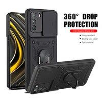 Противоударный чехол с кольцом-подставкой для Xiaomi Poco M3, защитный чехол для камеры с нажимом, чехол для телефона Xaomi Little Poxo Poko M 3 6,53