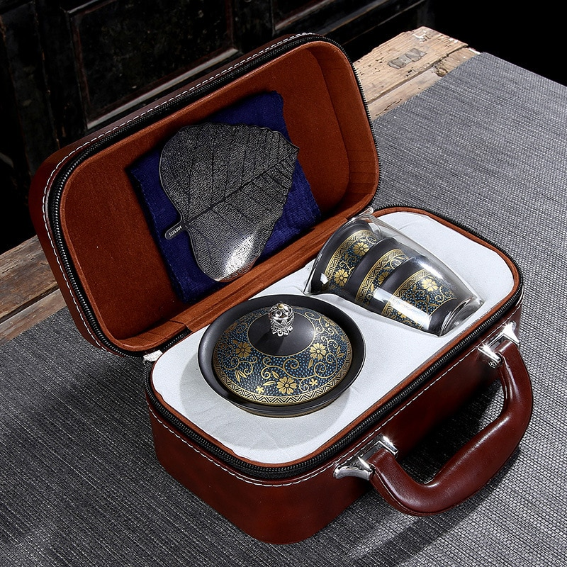 Upscale Tea Sets Chinese Kung Fu Teaset Ceramic Portable Teacup Porcelain Service Gaiwan Tea Cups Mug of Tea Ceremony Teapot