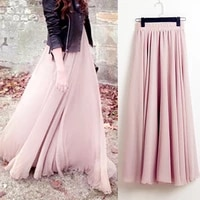 2021 bohemia long skirts women stretch high waist solid chiffon a line skirt casual pleated maxi skirt faldas saias streetwear