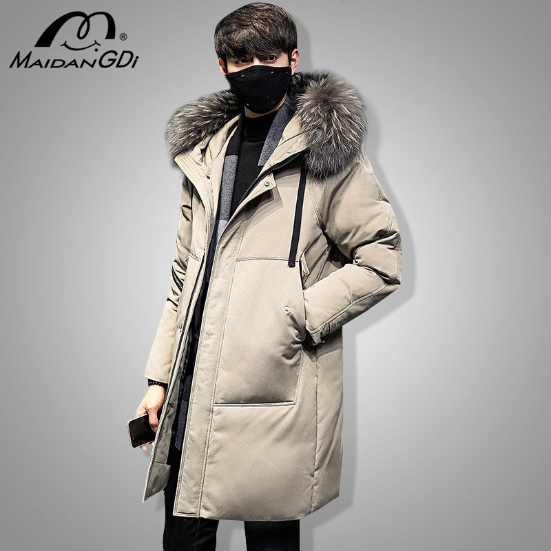 MAIDANGDI 2021 Winter New Medium And Long Down Jackets Teenager Thickened Hoodid Solid Color Coats Male's Windproof Warm Clothes