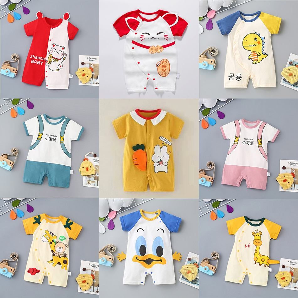 2020 new baby girls cotton romper sling robe and boys print jumpsuit for newborn children kids summer clothes Baby Romper Jumpsuit Summer Romper for Boys and Girls Newborn Cotton Cartoon Romper Newborn Clothes 0-2 Years Old