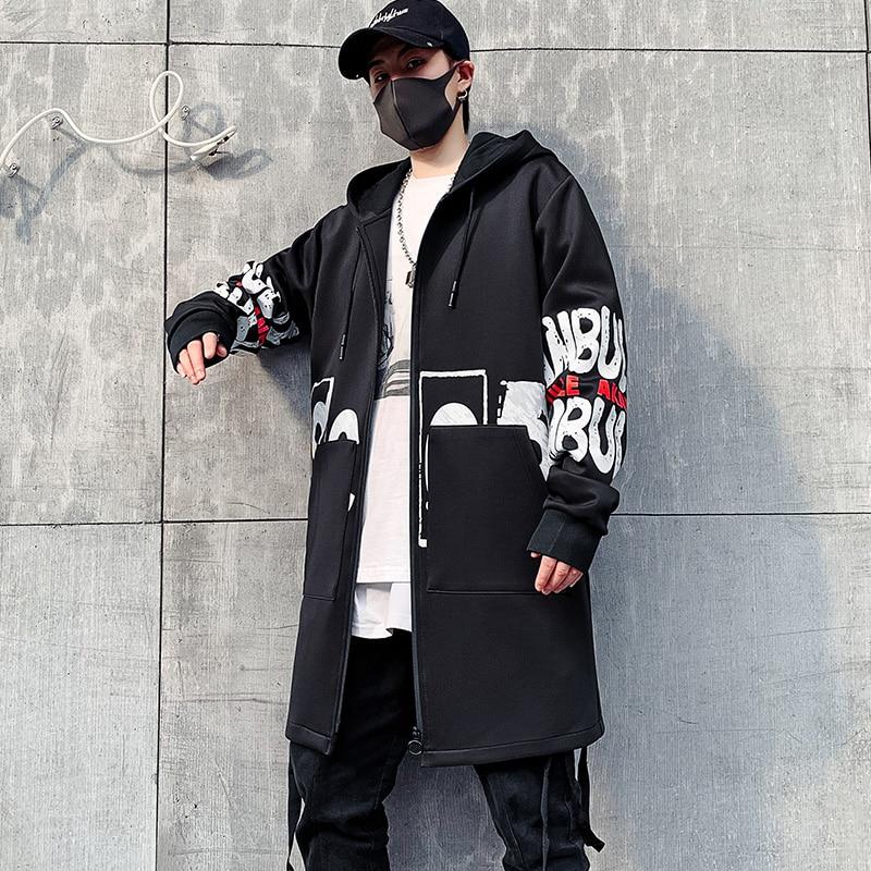 Куртка мужская с капюшоном, модная повседневная Уличная одежда, ветровка, пальто в стиле хип-хоп, уличная одежда, весна-осень 2021