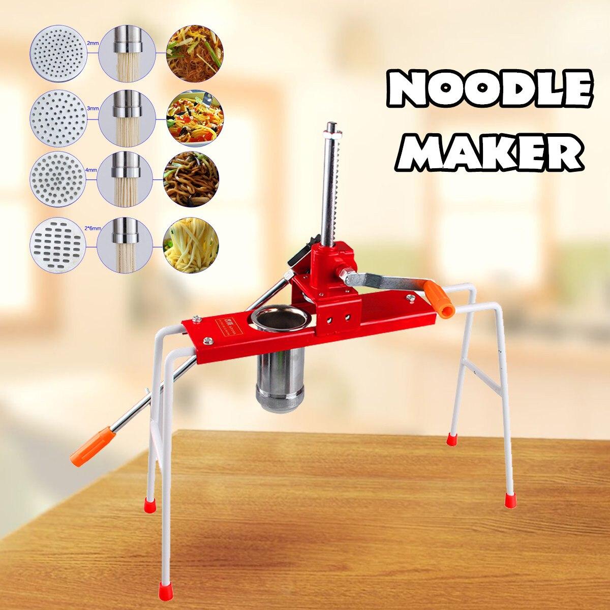 Máquina de hacer fideos de acero inoxidable máquina de hacer Pasta de masa prensa de mano aparatos de cocina espagueti 4 moldes de presión