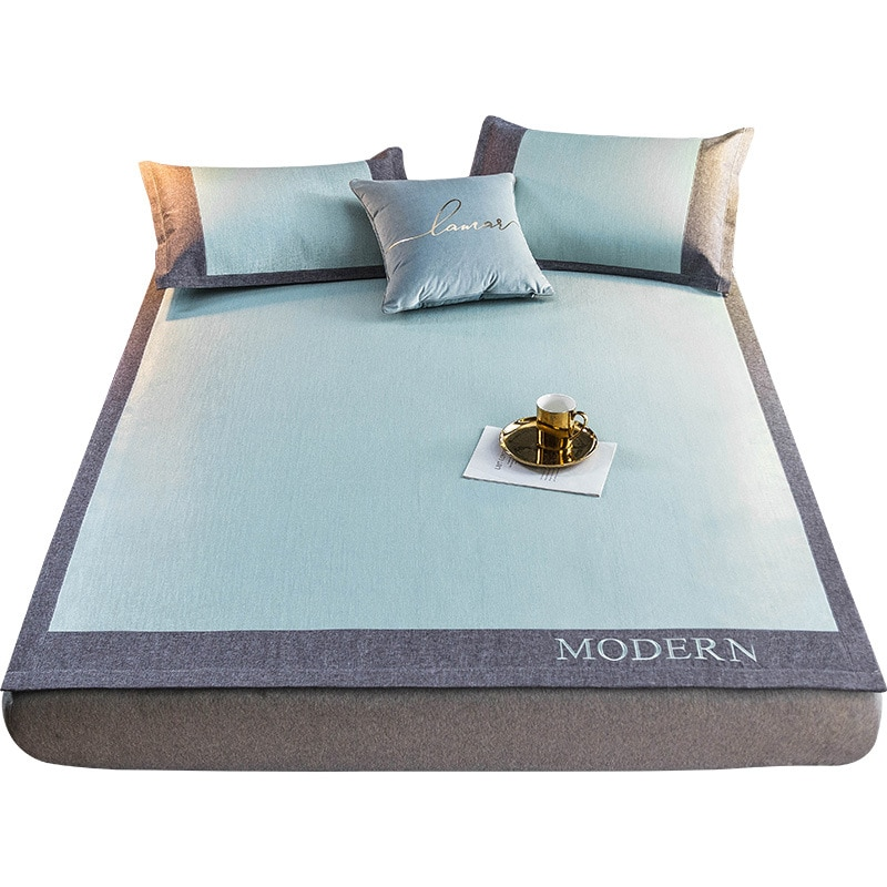 Tapete de seda de hielo de tres piezas Estilo nórdico bordado ligero de moda de lujo Color sólido cómodo asiento de aire acondicionado plegable