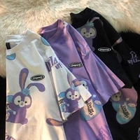 t shirt women stellalou print disney o neck kawaii clothes letter purple tees anime cute short sleeve summer top sweet japanese