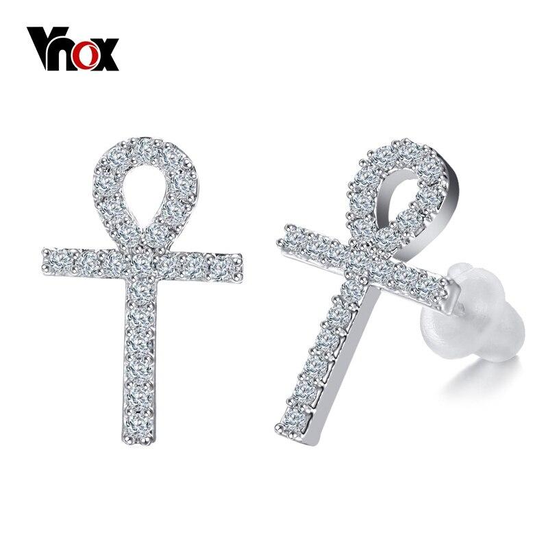 Vnox Bling CZ Stud pendientes de piedra para las mujeres Ankh Cruz pendientes con Anti alergia oreja aguja Accesorios
