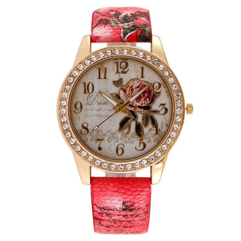 New Geneva Women's Wrist Watch Fashion Rose Flower Leather Strap Diamond Number Ladies Quartz Watch