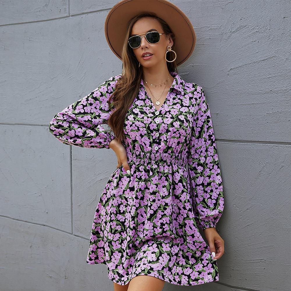 Women Dress Shirt Collar Elegant Ladies Belt Dress Button Floral Print High Waist Women Midi Dress Long Sleeve Autumn Dresses plus button front smocked waist floral dress