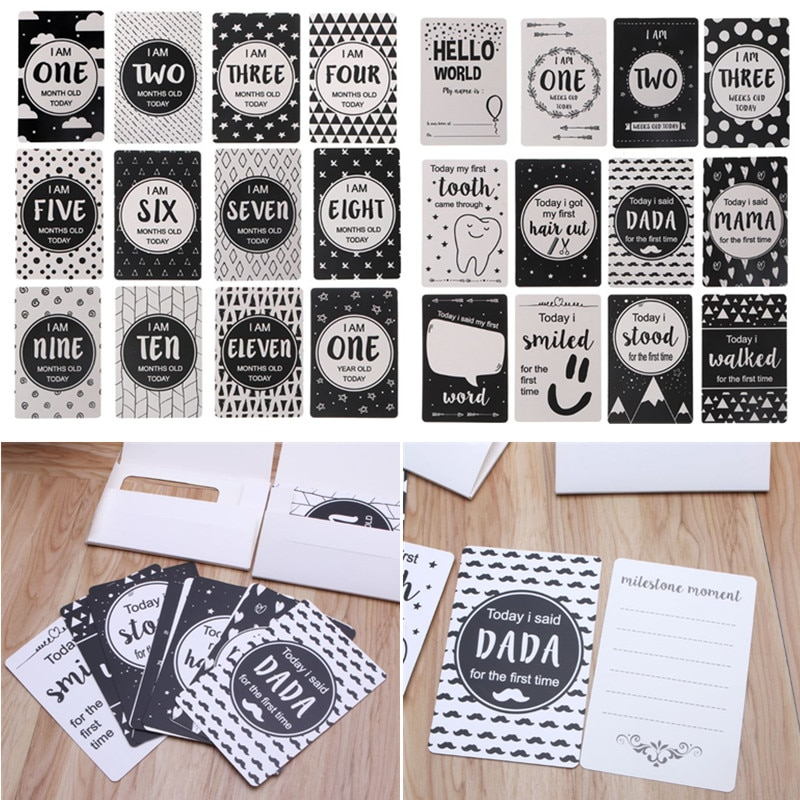 Открытки для новорожденных 12 шт., открытки для обмена фото на месяц, подарочный набор, забавные мультяшные фото-открытки, наклейки