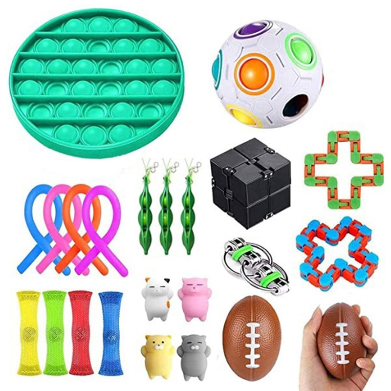 Sensory Fidget Toys Set Stress Relief and Anti-Anxiety Tools Bundle Stress Relief Hand Toys for Kids and Adults