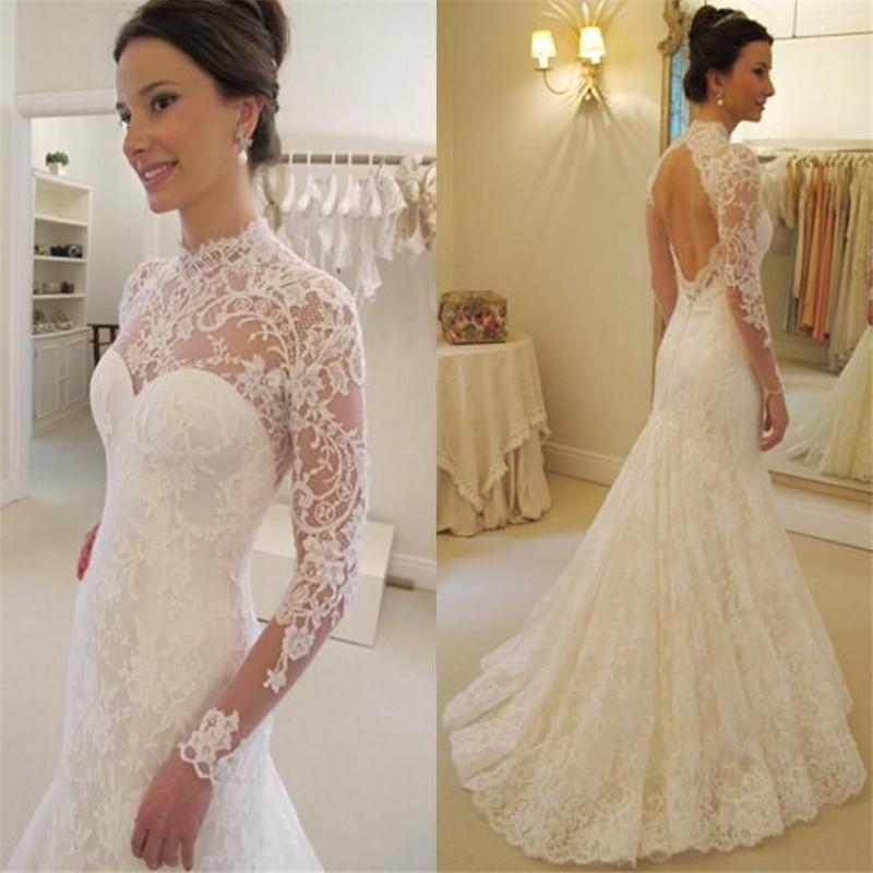 Недорогие кружевные искусственные винтажные Прозрачные Свадебные платья невесты с высоким воротом и длинным рукавом, свадебные платья на ...