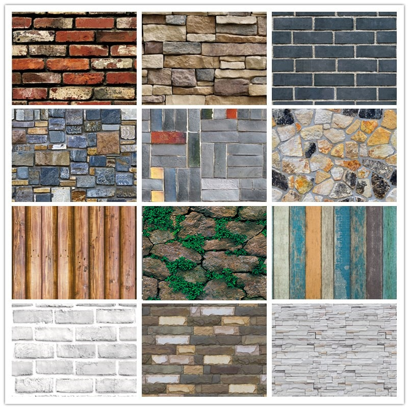 Home Decor 3D PVC Wood Grain Wall Paper Brick Stone Wallpaper Self-Adhesive Living Room Bedroom 3D Wallpapers Decoration