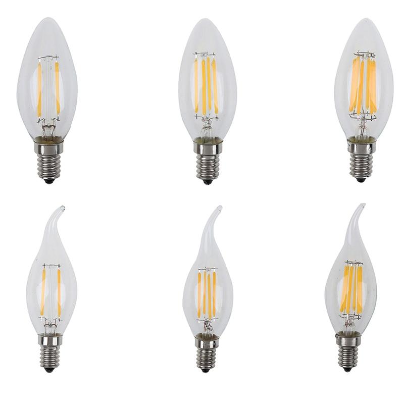 1 шт. 220V 2W/4W/6W E14 светодиодный лампы в форме свечи лампы E14 C35 нити светильник светодиодный светильник замена лампы накаливания
