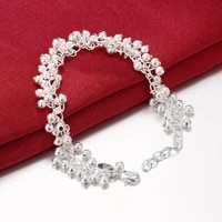 new 925 sterling silver bracelet fashion bead bracelet bangle for woman glamour jewelry gift