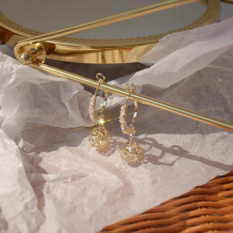 jewelry design Ins 14K Real Gold Rose Ball Zircon Stud Earrings for Women Cubic Zircon ZC Earrings  - buy with discount