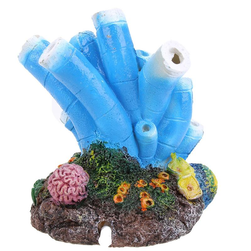 2 uds., Coral Artificial, decoraciones para acuarios, piedra de aire, Volcán, Burbuja, bomba de oxígeno, Coral de resina, bomba de aire para aireador de tanque de peces