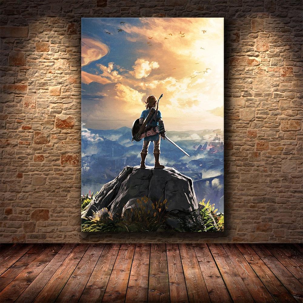Póster del juego pintura decorativa de la leyenda de Zelda Breath of The Wild sobre lienzo HD Cuadros pintura arte Póster