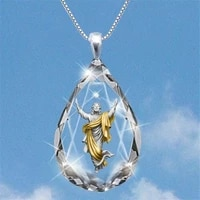 jesus fashion drop shaped crystal pendant necklace exquisite jewelry accessories exquisite style