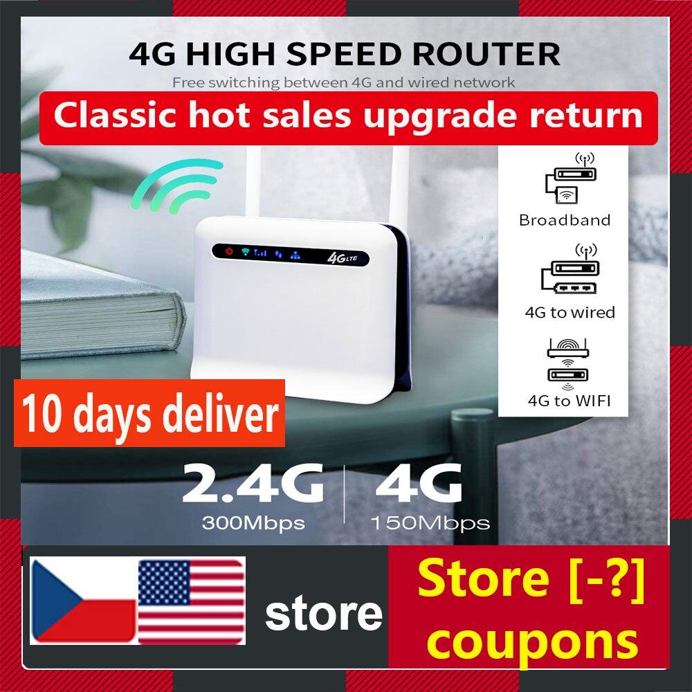 Arealer 4G موزع إنترنت واي فاي لاسلكي LTE 300Mbps عالية الطاقة الصناعية الصف CPE راوتر مع 2 هوائيات خارجية وشريحة فتحة للبطاقات