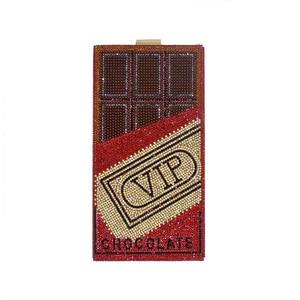 Shiny Red Diamonds Money Evening Clutch Bags Chocolate Design Shoulder Bag Purse for Women Elegant Small Square Dollar Chain Bag