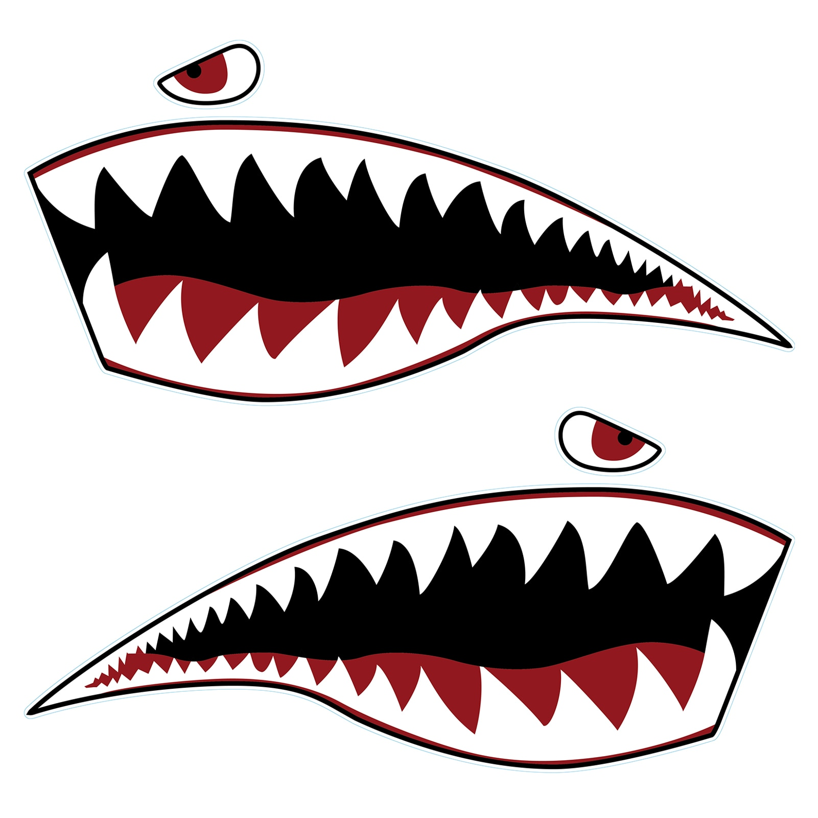 2PC Kayak Sticker Waterproof Canoe Shark Teeth Mouth Stickers Decals Apply To Canoe Dinghy Marine Boat Car Truck