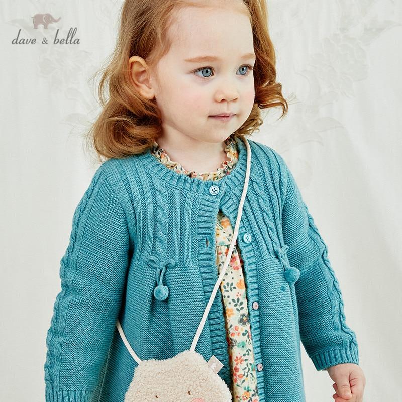 Dave bella/DBM14556 Детский кардиган на пуговицах с бантом для маленьких девочек, милый вязаный свитер для малышей на осень|Свитера| | АлиЭкспресс