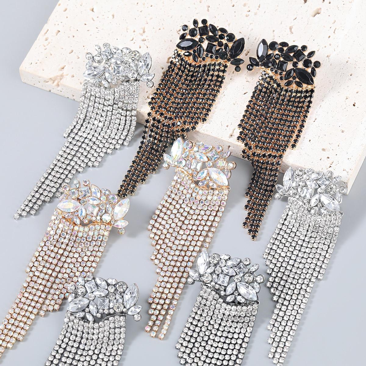 AliExpress - JIJIAWENHUA New Sparkling Rhinestone Tassel Pendant Women's Earrings Dinner Party Wedding Fashion Jewelry Accessories