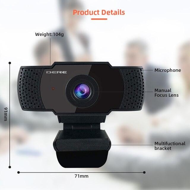 DERE X22 FHD Webcam 1080P Mini USB Web Cam Mini Camera Video Conference Microphone Focus for Rotatable Desktop Computer Laptop 10