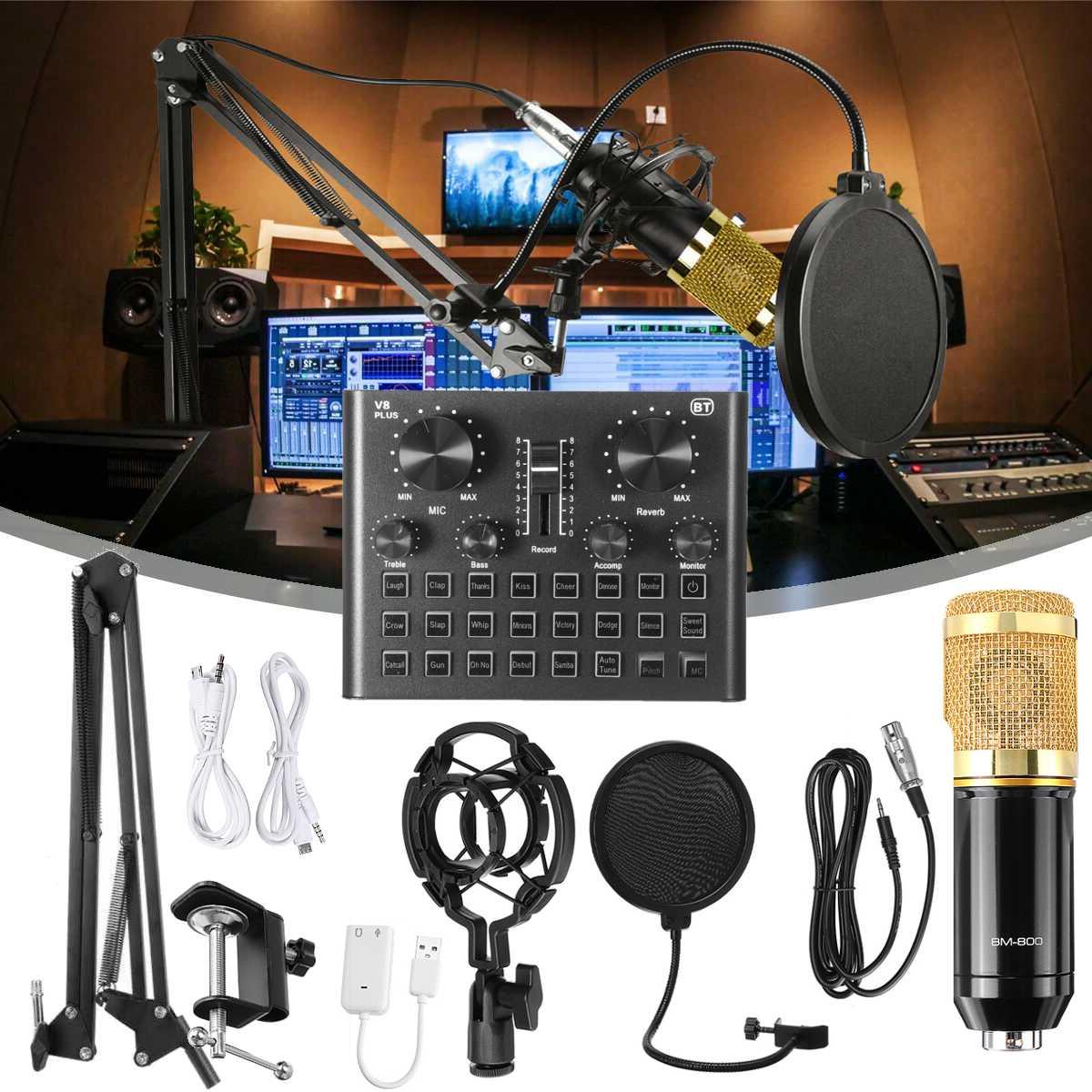 V8 زائد BM800 برو ميكروفون خلاط الصوت dj مكثف كارت الصوت البث المباشر منصة الميكروفون USB بلوتوث تسجيل كارت الصوت