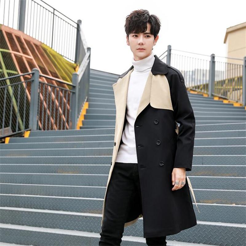 الخريف معطف واقٍ من المطر الرجال منتصف طول وسيم الإفراط في الركبة الكورية نمط العصرية البريطانية نمط ملابس فضفاضة كاكي أسود أزرق