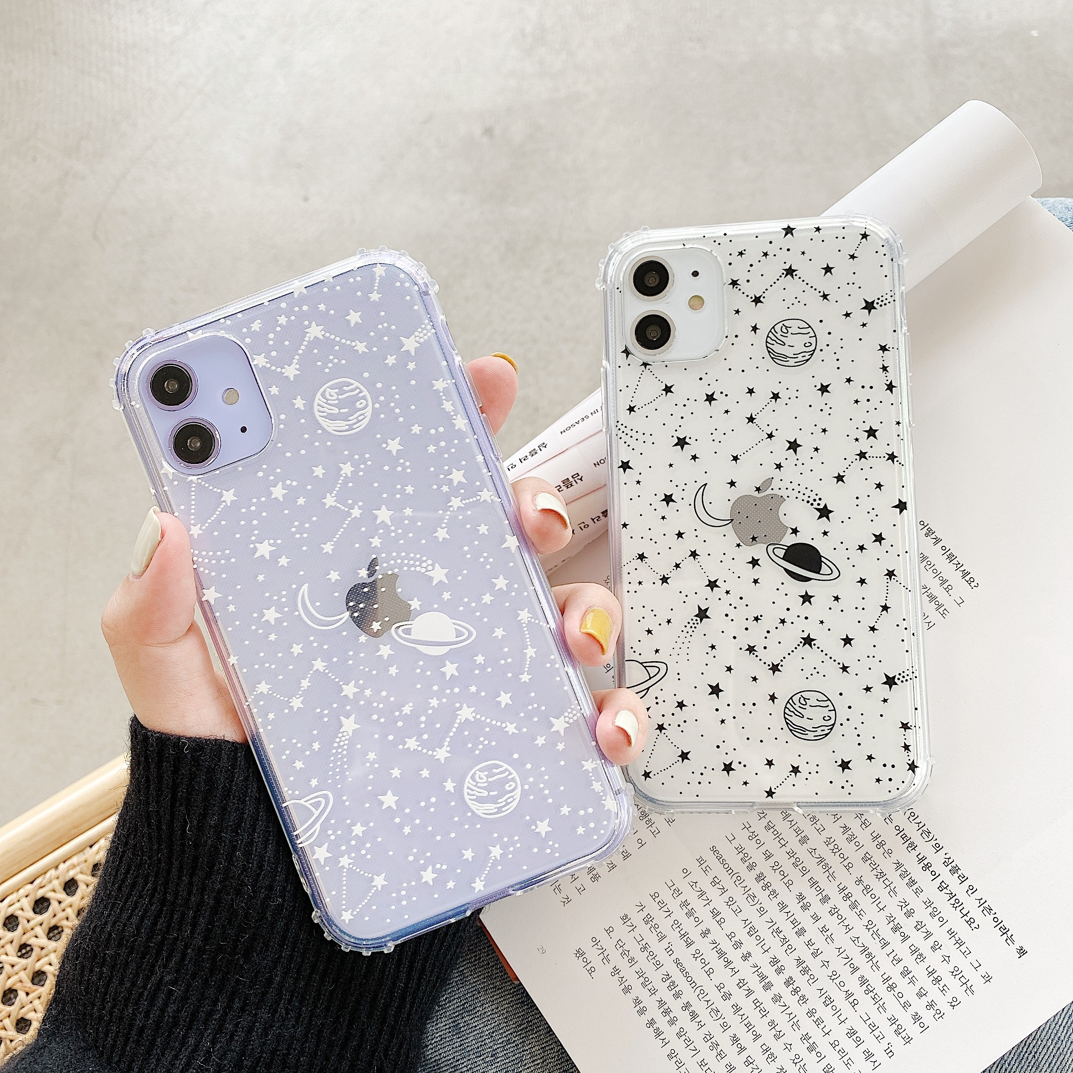 Funda de teléfono con diseño de constelación de cielo estrellado para iPhone 11 Pro Max XR XS Max X 78 Plus X Planet Star, fundas traseras transparentes