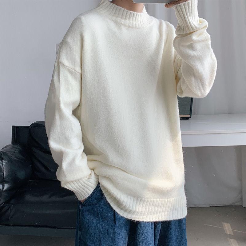 High Quality Solid Color O-neck Sweater Men's Korean Casual Men's Sweater Fashion Loose Pullover Men's Streetwear Sweater aliexpress crew neck linen flower color sweater men s pullover knitted sweater men s wear
