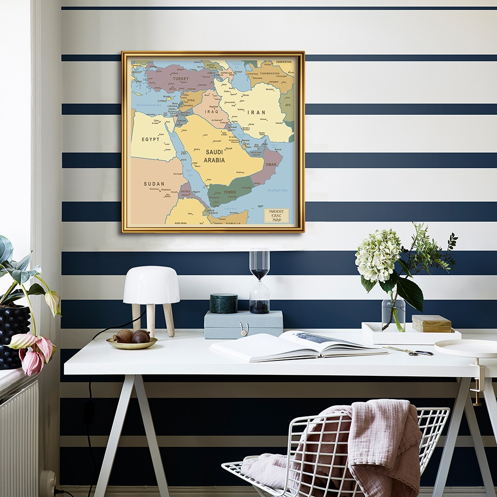 60*60cm Map Of Middle East Political distribution Wall Art Poster Canvas Painting  Home Decoration Travel School Supplies