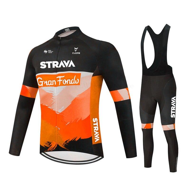 2021 Strava Pro equipo de Primavera manga larga Jersey Ciclismo bicicleta pantalones...